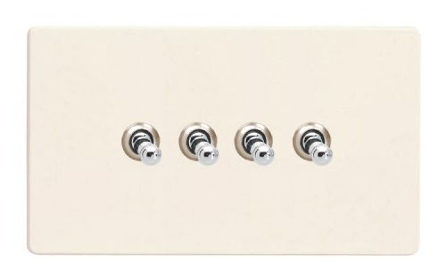 Varilight XDYT9S.PD Screwless Primed 4 Gang 10A 1 or 2 Way Toggle Light Switch